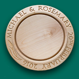 A Wedding breadboard with a continuous inscription.