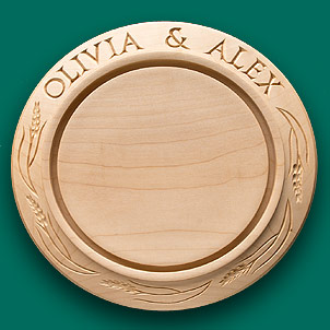 A wedding breadboard with just the top line inscribed