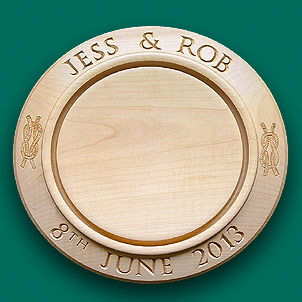 This wedding breadboard is decorated with a reef knot either side.
