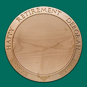 "14"" retirement cheese board Celtic decoration"